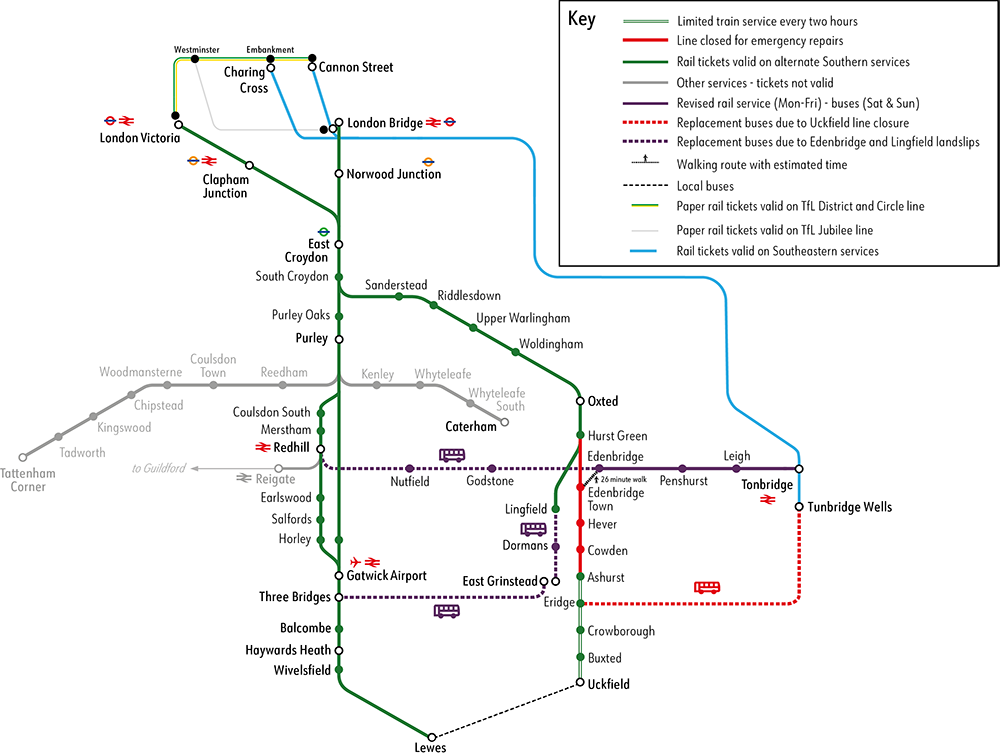 Uckfield line alternative route map - 28 Feb 2020
